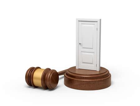 3d rendering of white doorway on round wooden block and brown wooden gavel Reklamní fotografie