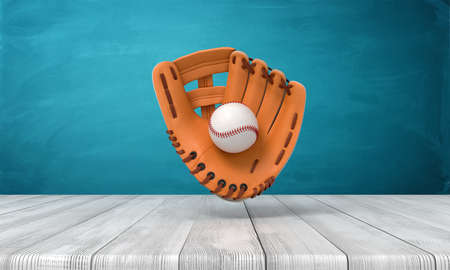 3d rendering of orange baseball glove with a baseball suspended in air above wooden surface near blue wall with copy space. Stock Photo