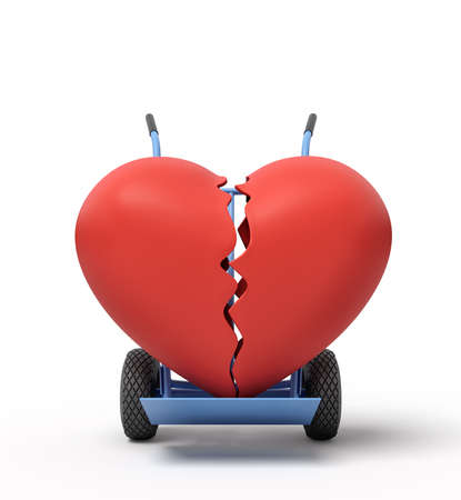 3d rendering of broken big red heart on a hand truck