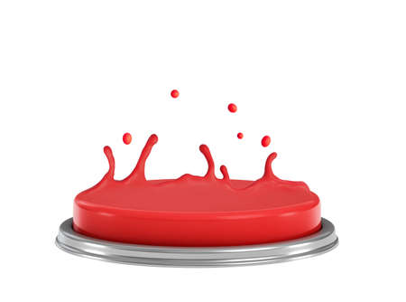 3d side close-up rendering of red alarm button melting on top, melted plastic heading upwards as if levitated, isolated on white background.