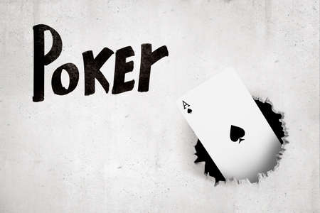 3d rendering of ace of spades breaking white wall with Poker sign on white background