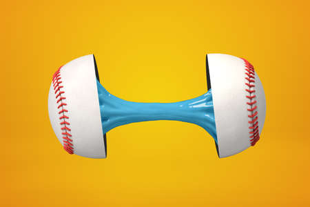 3d rendering of baseball ball broken in two parts with blue sticky slime inside on yellow background
