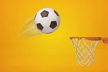 3d rendering of a football flying toward basketball hoop on amber background.