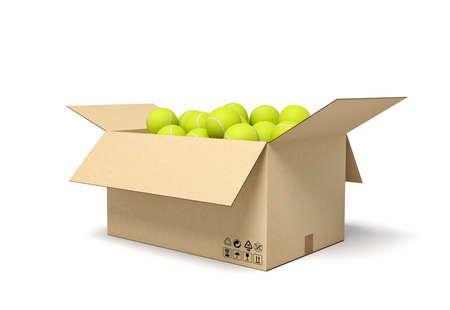 3d rendering of yellow tennis balls in carton box.