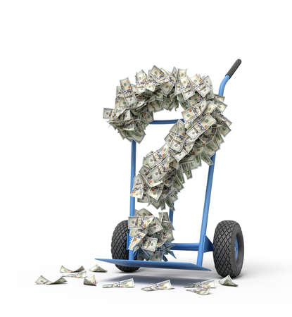 3d rendering of hand truck standing in half-turn with question mark made up of dollar banknotes on it.
