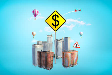 3d rendering of gigantic yellow square road sign with dollar symbol rising amid high-rise buildings on blue background.
