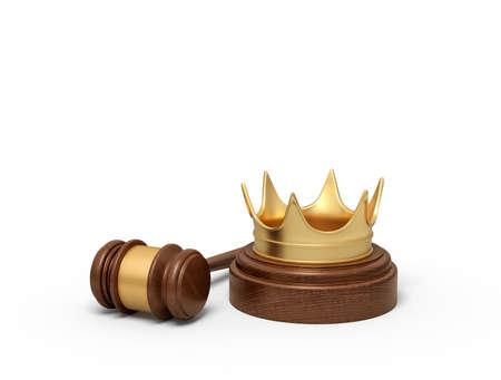 3d rendering of golden crown on round wooden block and brown wooden gavel Stock fotó