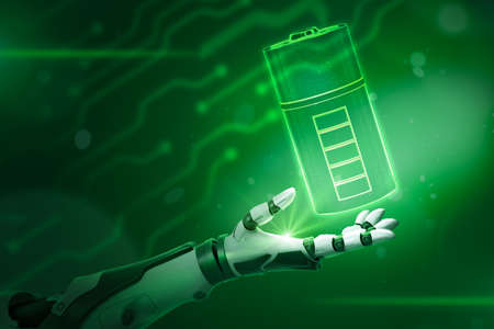 Robotic hand with a battery on neon green background