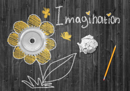 3d rendering of wooden background with picture of flower and word Imagination.