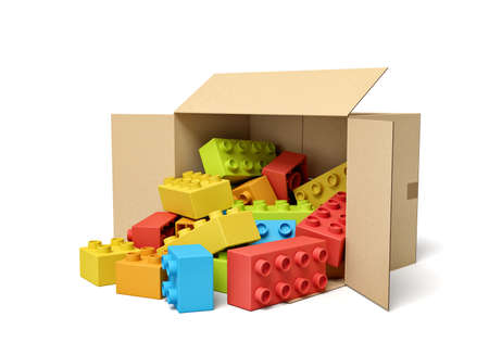 3d rendering of cardboard box lying sidelong full of colorful toy bricks.