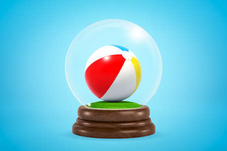 3d rendering of striped beach ball inside glass ball globe on light blue gradient background.
