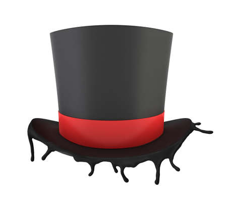 3d rendering of black top hat melting isolated on white background Foto de archivo - 134738196