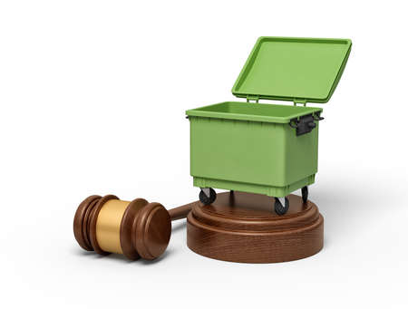 3d rendering of open green trash bin on round wooden block and brown wooden gavel