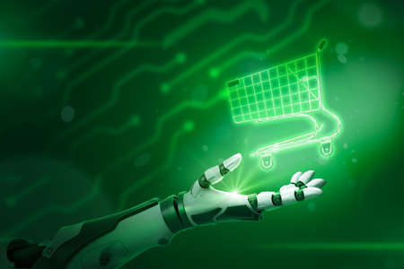 Robotic hand holding shopping cart on neon green background
