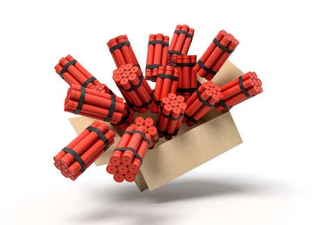 3d rendering of cardboard box full of dynamite bundles in mid-air.