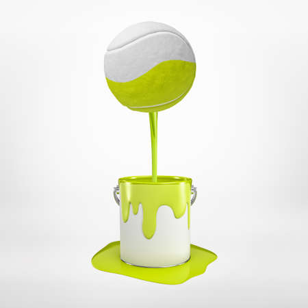 3d rendering of tennis ball with yellow paint pouring into metal bucket on white background