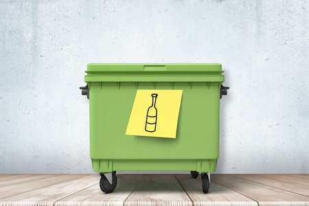 3d rendering of green trash can standing on wooden floor, yellow note with hand-drawn bottle stuck onto can. Stock Photo - 134738206