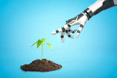 Robotic hand reaching to new green sprout on blue background Stok Fotoğraf - 134738268