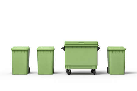 3d rendering of four green trash cans standing in row Stock Photo
