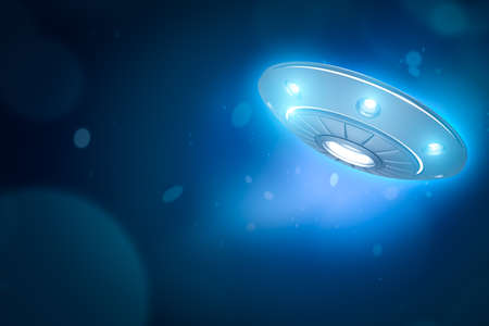 3d rendering of UFO with glowing lights on blue bokeh background with copy space. 版權商用圖片