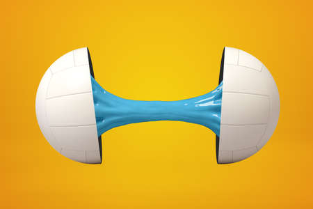 3d rendering of volleyball ball broken in two parts with blue sticky slime inside on yellow background