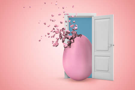 3d rendering of a white open doorway with pink egg shattering into pieces on light pink background