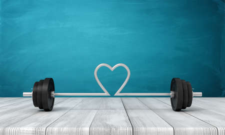 3d rendering of barbell with its bar bent in shape of heart in the middle, on wooden surface near blue wall.