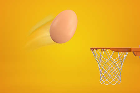 3d rendering of chicken egg that has been thrown in air and is flying toward basketball hoop on amber background.