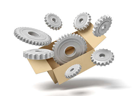 3d rendering of grey metal cogwheels in carton box on blue background. 스톡 콘텐츠