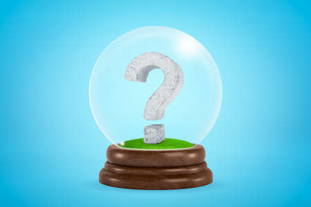 3d rendering of scuffed stone question mark inside glass ball globe on light blue background.