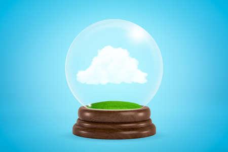 3d rendering of miniature white fluffy cloud inside glass ball globe on light blue background. Reklamní fotografie