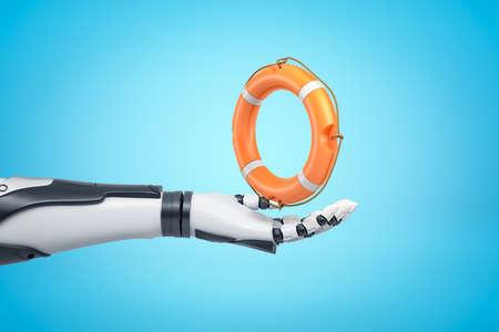 3d rendering of robotic hand holding orange boat lifebuoy on blue background