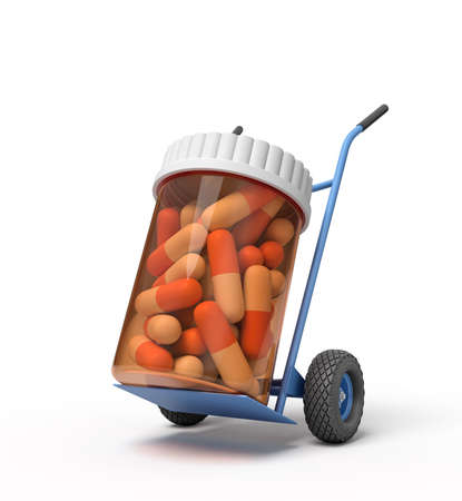 3d rendering of a plastic jar with medical pills on a hand truck