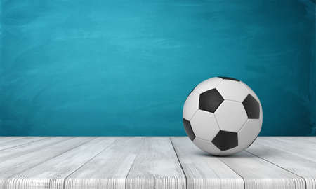 3d rendering of football ball on white wooden floor and dark turquoise background Archivio Fotografico - 134738394