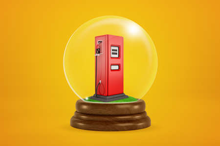 3d rendering of tiny red fuel dispenser inside glass ball globe on amber background. 写真素材
