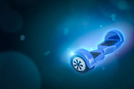 3d rendering of blue self-balancing scooter on blue gradient bokeh background with copy space.