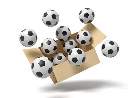 3d rendering of cardboard box full of footballs in mid-air.