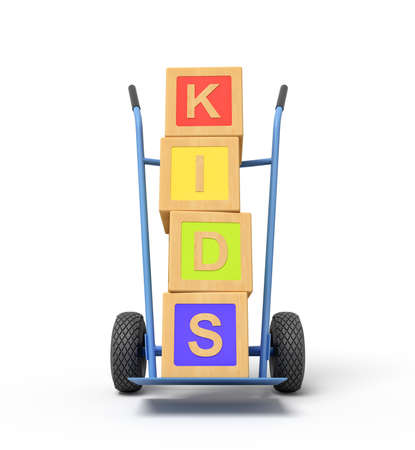 3d rendering of colorful alphabet toy blocks showing PLAY sign on a hand truck. Digital art. Objects and materials. Toys and games.