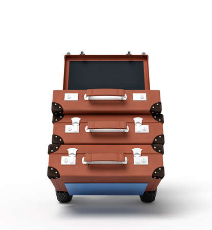 3d rendering of blue hand truck with stack of three brown suitcases on top.
