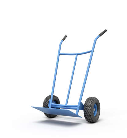 3d rendering of blue empty hand truck standing upright in half-turn.