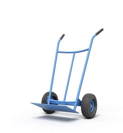 Rendu 3D d'un camion à main vide bleu debout en demi-tour.