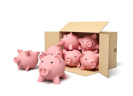 3d rendering of pink ceramic piggy banks in carton box. Zdjęcie Seryjne
