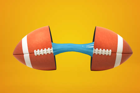 3d rendering of american football ball broken in two parts with blue sticky slime inside on yellow background. Objects and materials. Games and sports. Sporting goods.