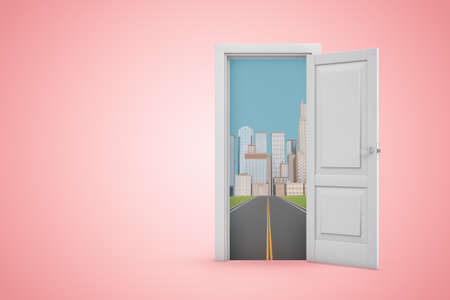3d rendering of open white door on pink copy space background, opening to asphalt road that leads to skyscraper city.