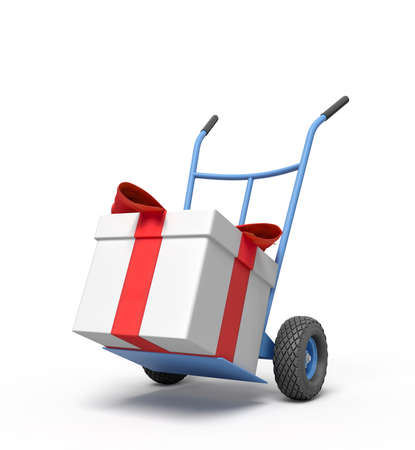 3d rendering of blue hand truck with big white gift box tied with red ribbon on top.