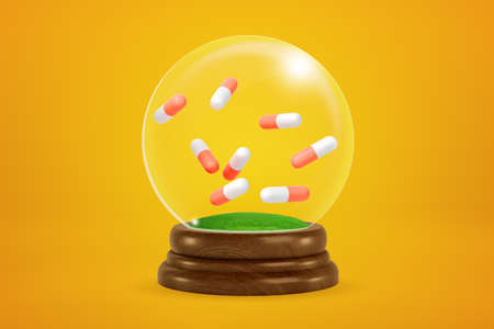 3d rendering of eight two-colored pills floating inside snowglobe on amber background.