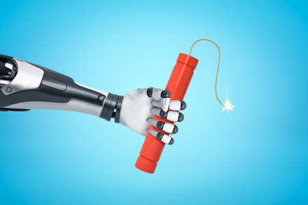 3d rendering of robotic hand holding red TNT dynamite stick on blue background