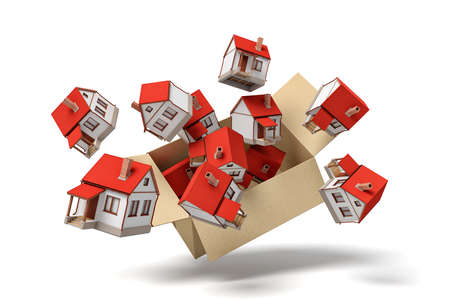 3d rendering of cardboard box flying in air full of small detached houses which are flying out from it. Stockfoto