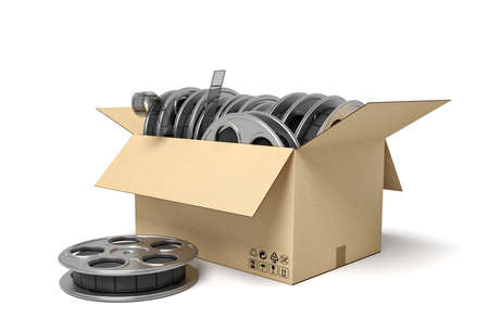 3d rendering of cardboard box full of film reels with one reel beside box.
