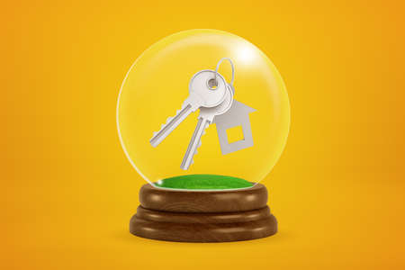 3d rendering of light gray metal keys with house-shaped key charm floating inside snow globe on amber background.